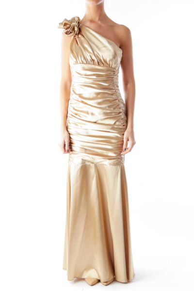 Gold One Shoulder Evening Gown