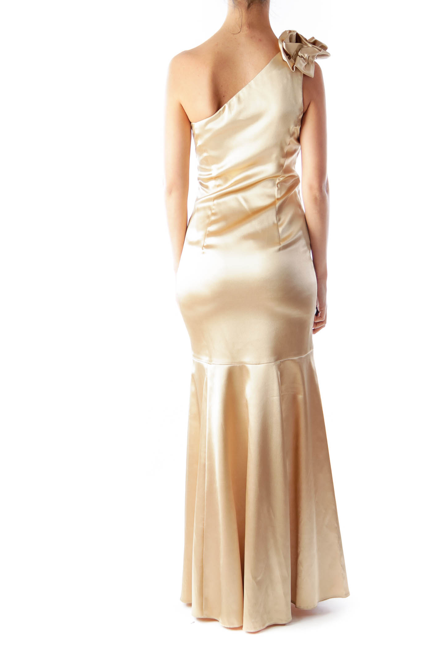 Gold One Shoulder Evening Gown [XS] - SilkRoll