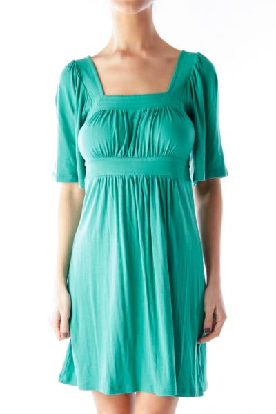 Green Short Sleeve Jersey Dress