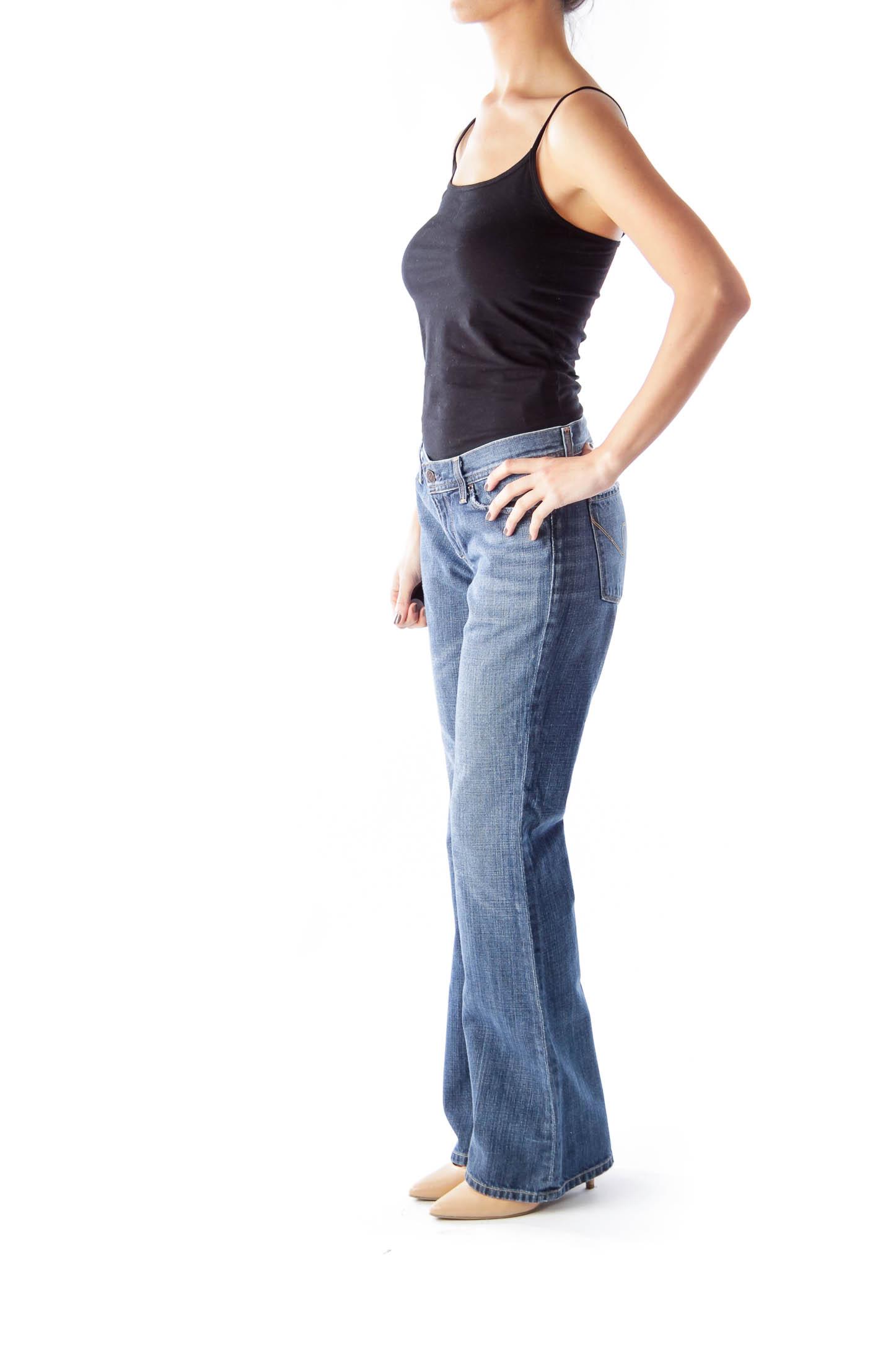 Blue Wash Bootcut Jeans