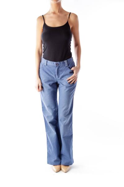 Blue High Waist Wide Leg Jeans