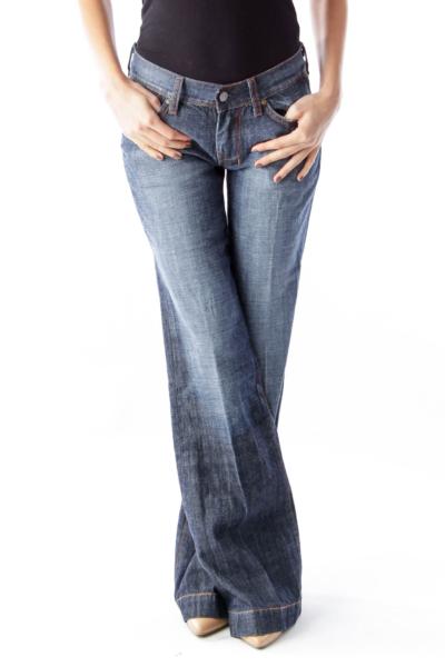 Blue Wash Wide Leg Jeans
