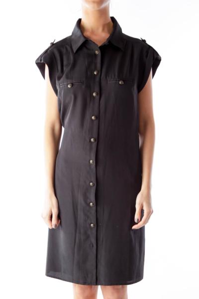 Black Button Down Shift Dress
