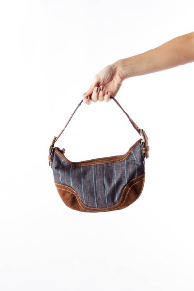 Brown Suede & Denim Shoulder Bag