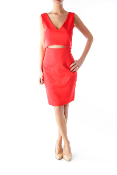 Red Cutout Shift Dress
