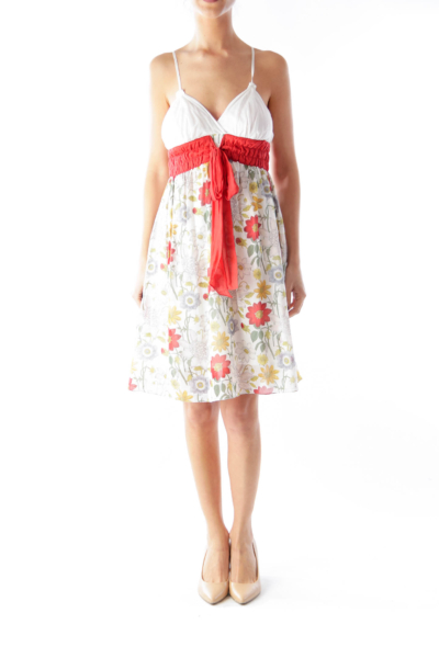 White Floral Camisole Dress