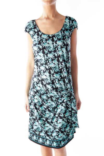 Black & Blue Floral Knot Dress