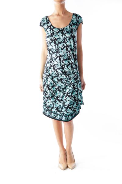 Black & Blue Floral Knot Dress