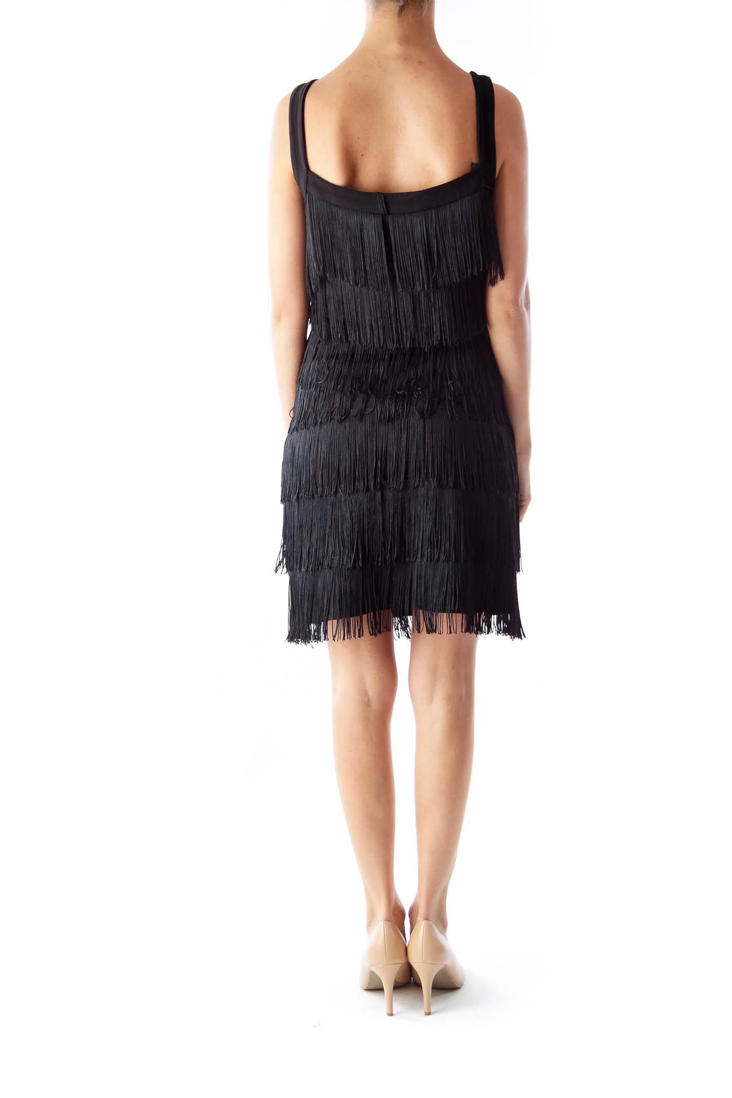 Black Fringe Cocktail Dress [S] - SilkRoll