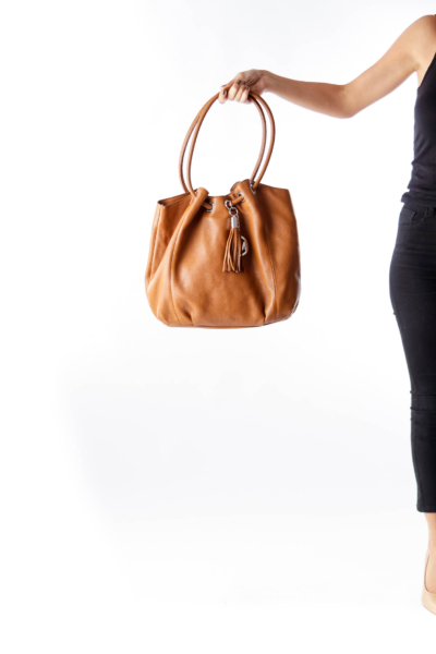 Brown Tassel Tote Bag