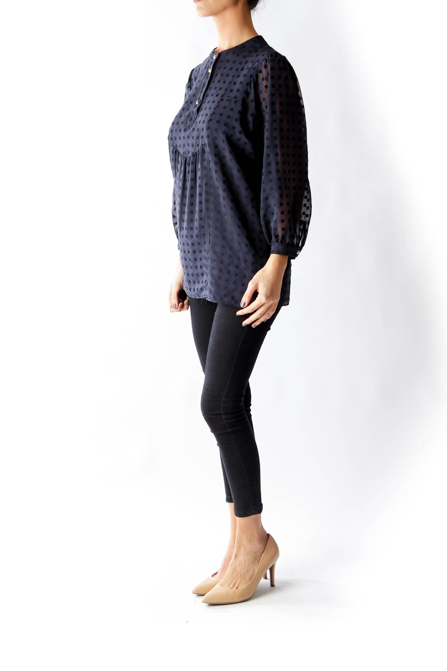 Navy Square Texture Blouse