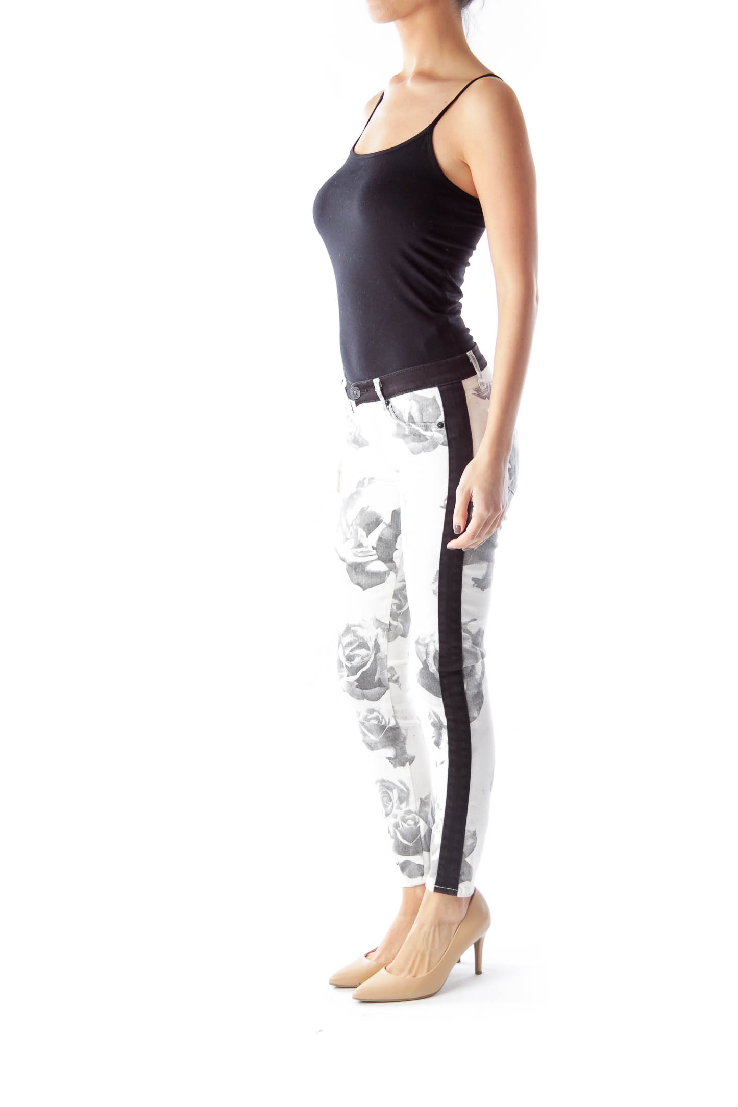 White and black floral skinny jeans