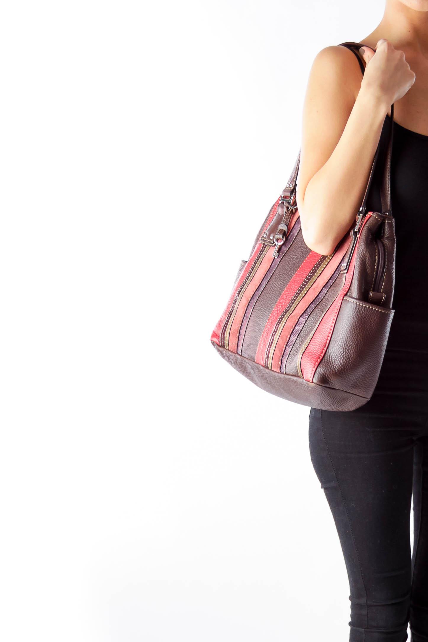 Brown Color Stripes Handbag