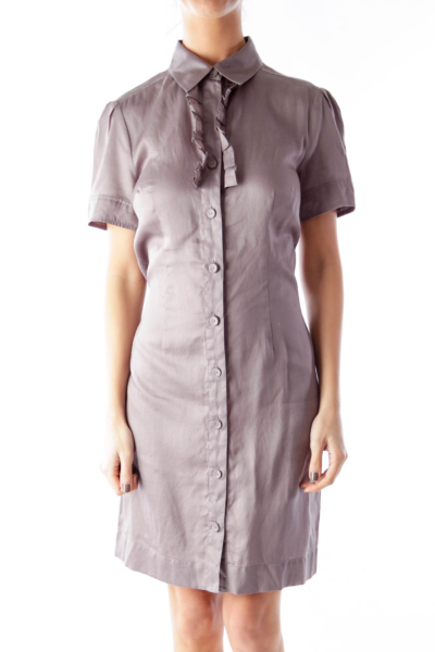 Gray Ruffle Shirt Dress