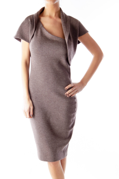 Heather Brown Knit  One Shoulder Dress