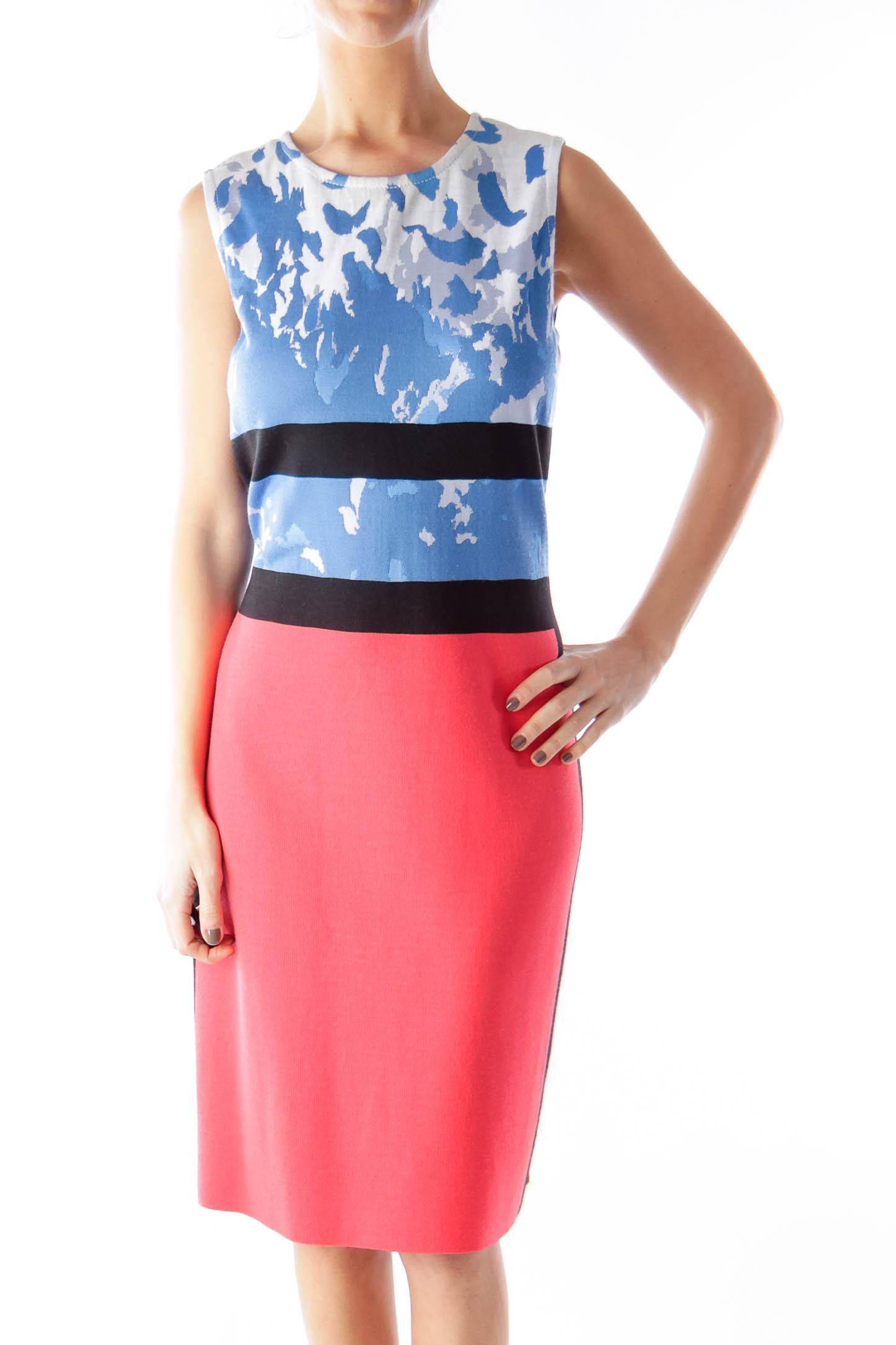 Color Block Print Knit Dress