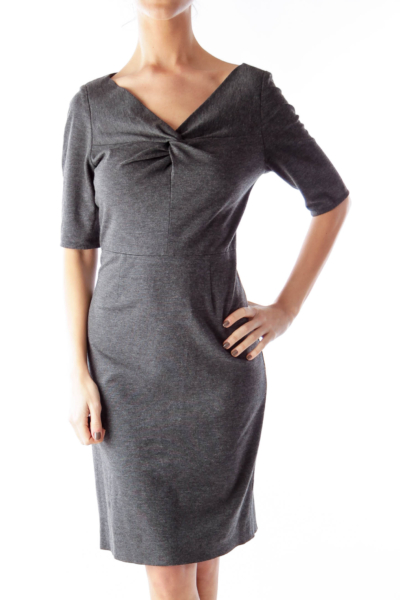 Gray Short Sleeve Knot Dress
