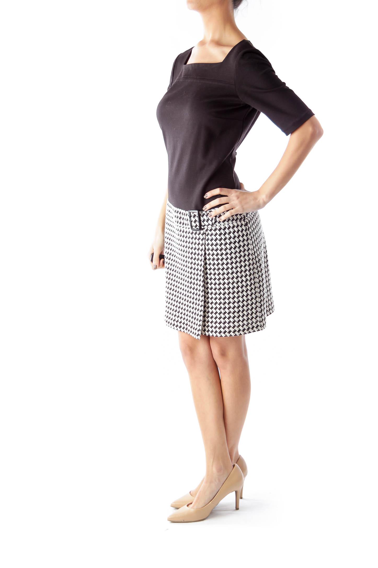 Black & Pied de Poule Mini Dress