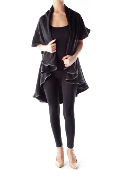 Black Ruffle Leather Detail Cape