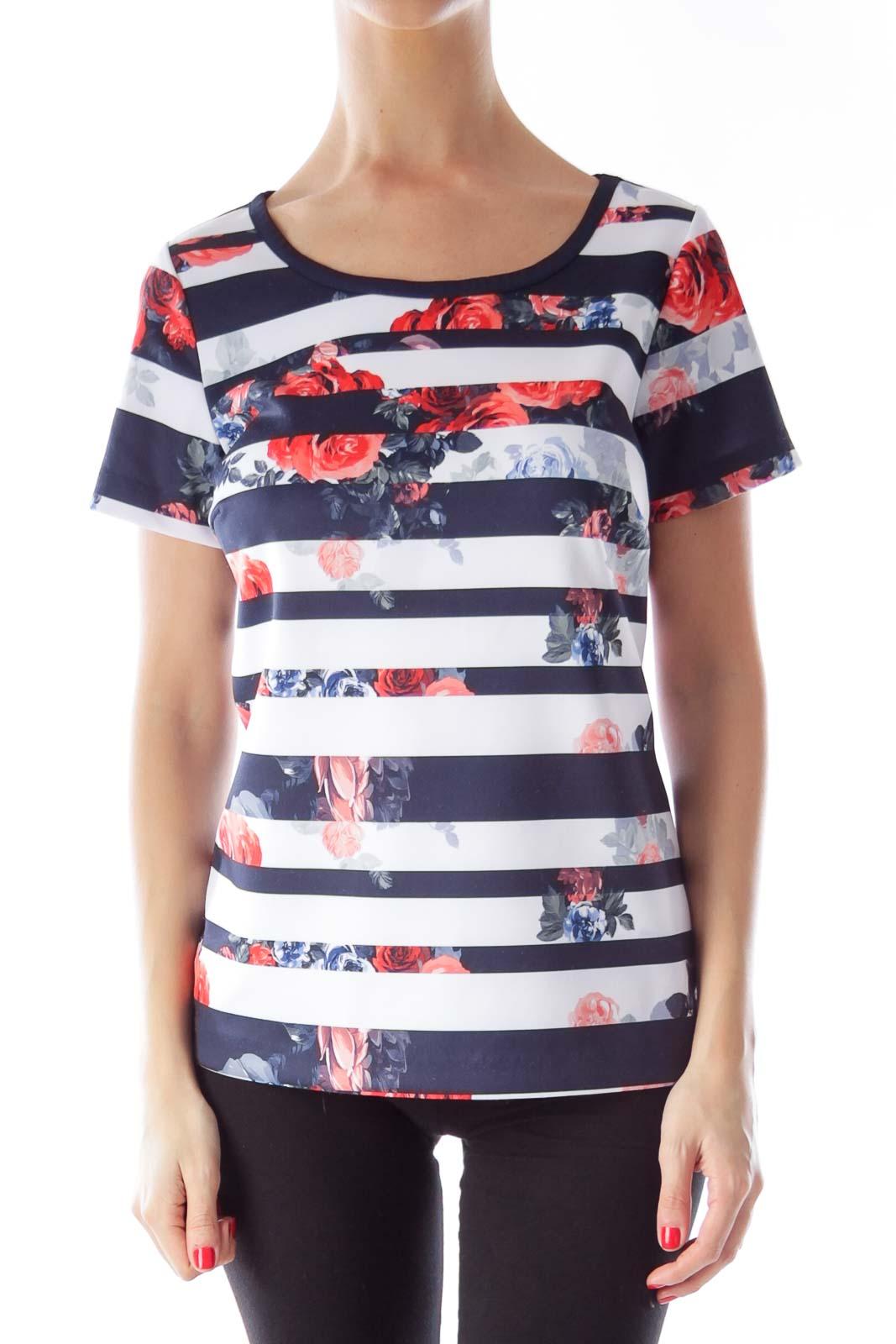 Navy & White Floral Stripe Shirt