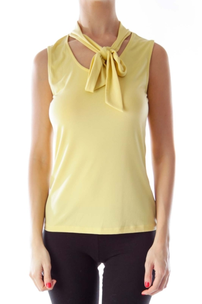 Yellow Round Neck Bow Blouse
