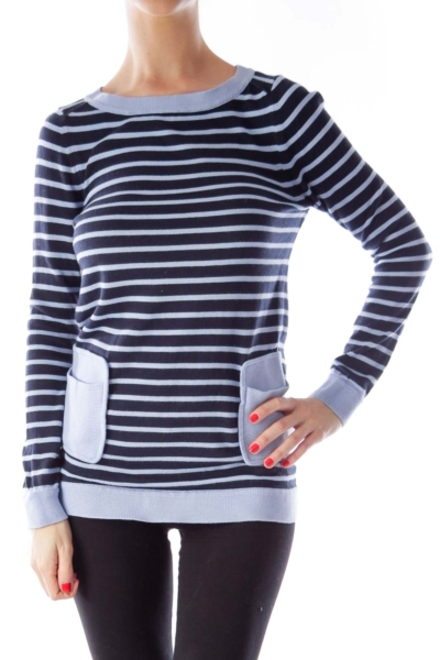 Blue Striped Pocket Sweater
