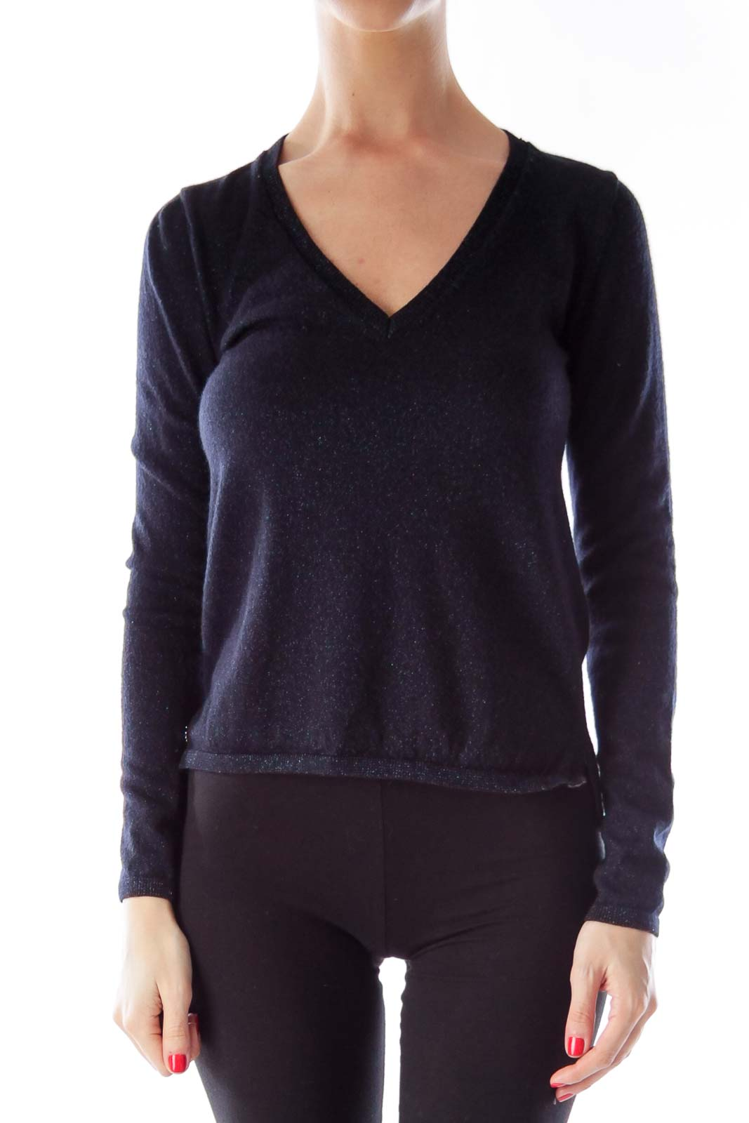 Navy Metallic V Neck Sweater