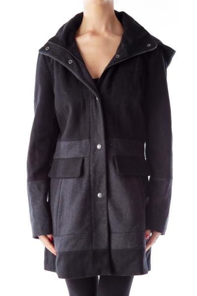 Black & Gray Hooded Jacket