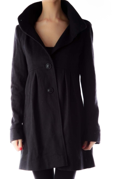 Black Hooded Peacoat