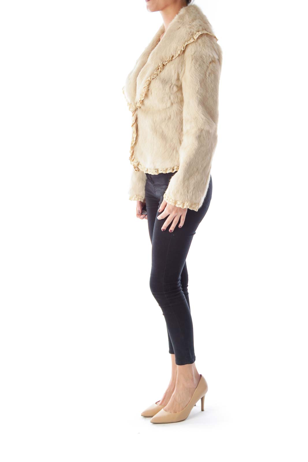 Cream Fur and Lace Jacket