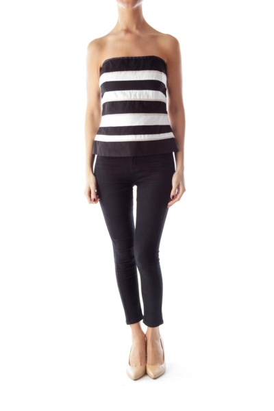 Black & Cream Stripe Top