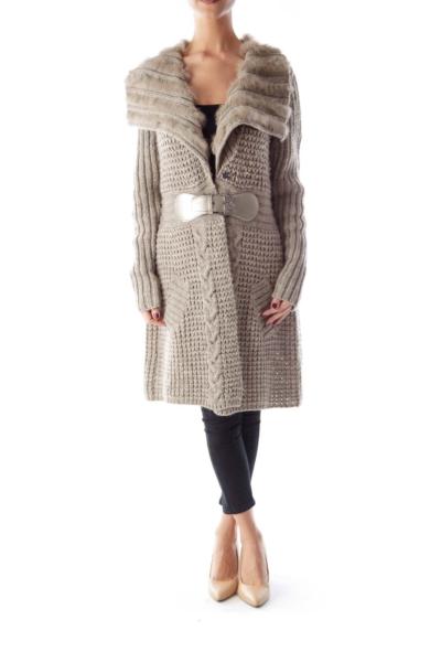 Gray Fur Long Knit Coat