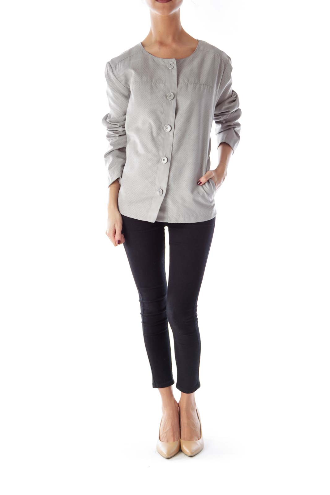Gray Suede Button Jacket
