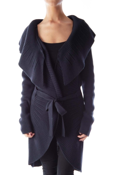 Navy Long Ruffle Cardigan