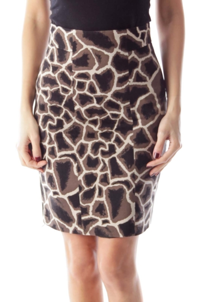 Animal Print Shift Skirt