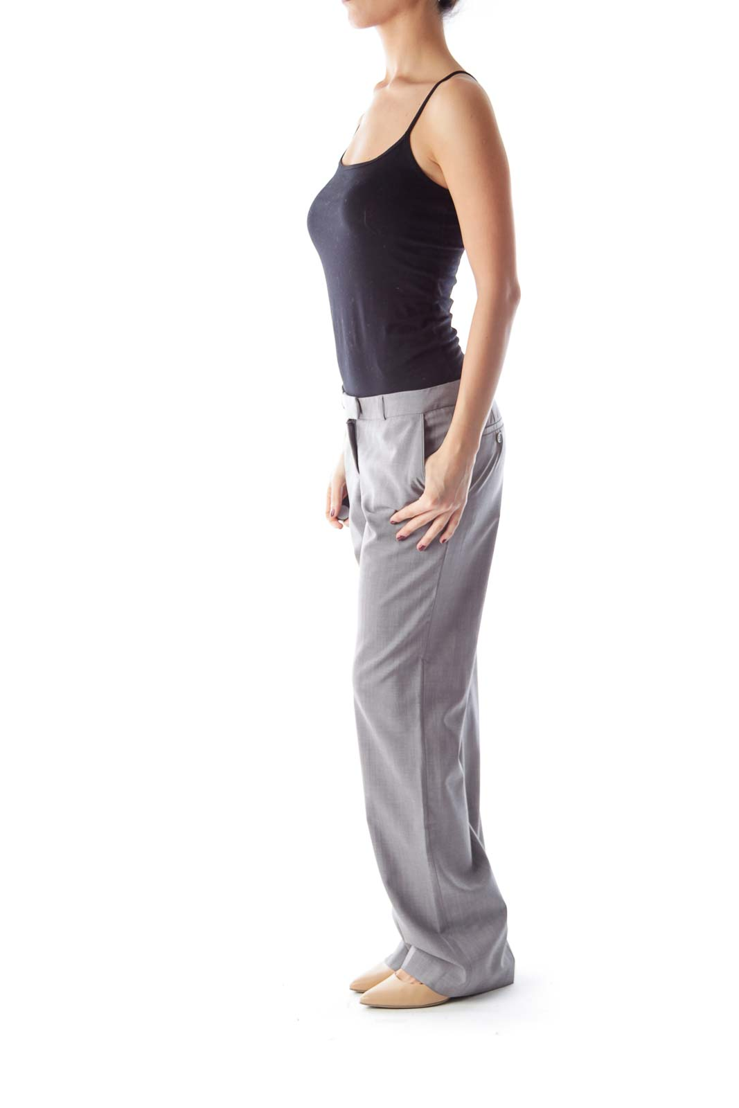 Gray Wide Legs Pants