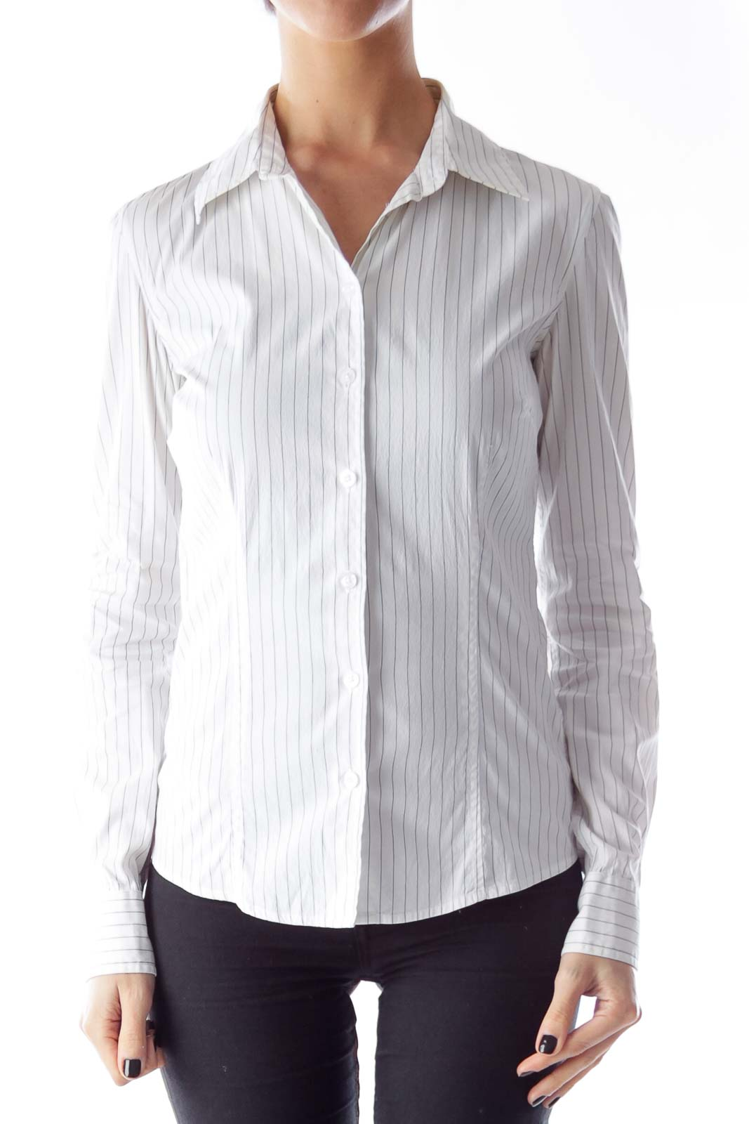 White Striped Long Sleeve Shirt