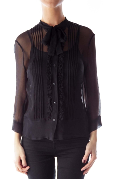 Black See Through Ruffle Blouse