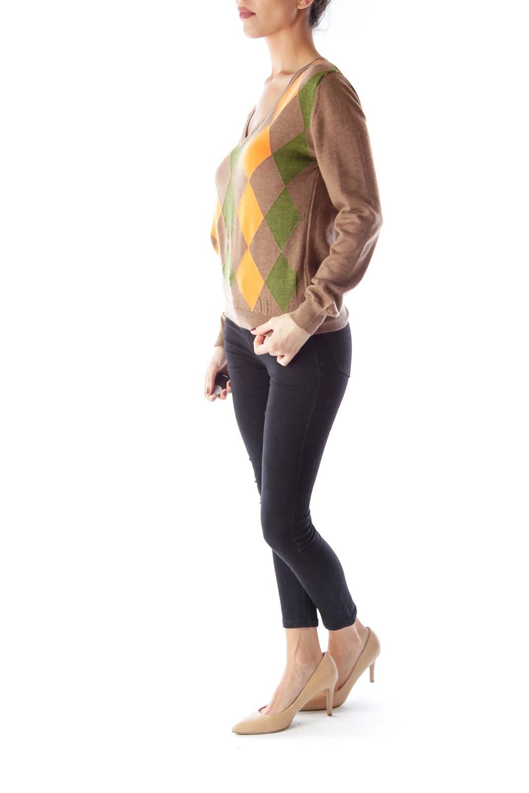 Brown & Orange Print Sweater