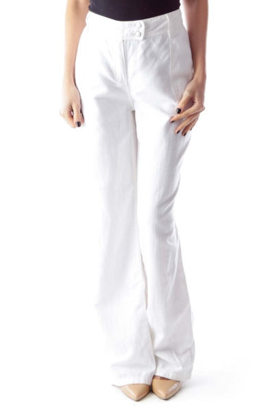 White Linen Straight Pants