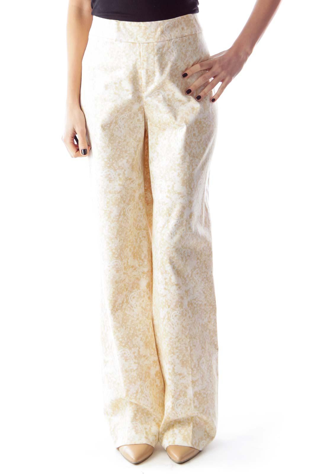 Beige Print Straight Pants