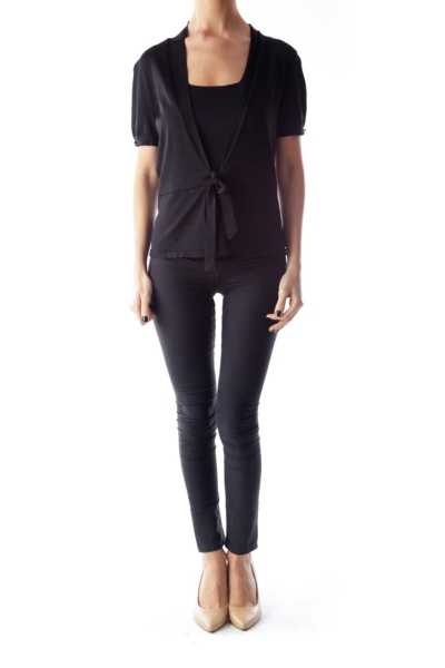 Black Open Short Sleeve Cardigan