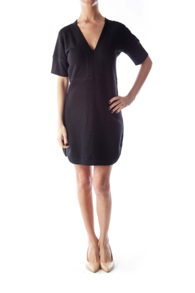 Black Wool V Neck Dress