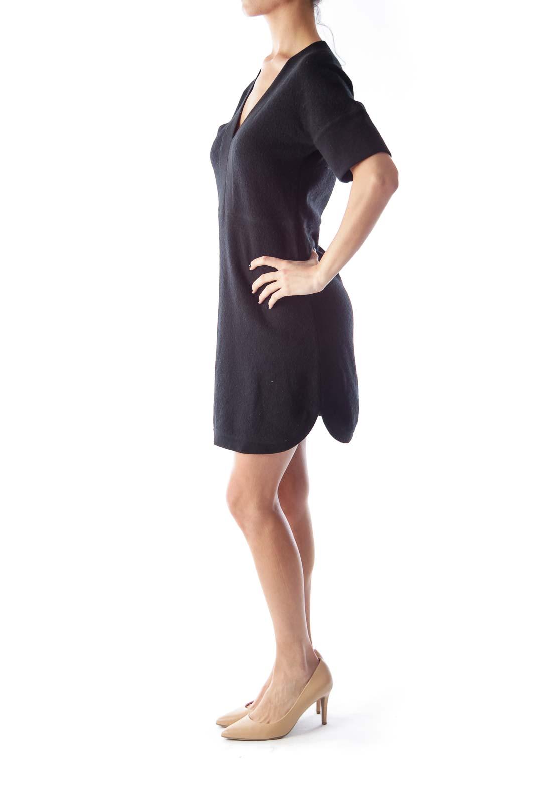 Black Wool V Neck Dress