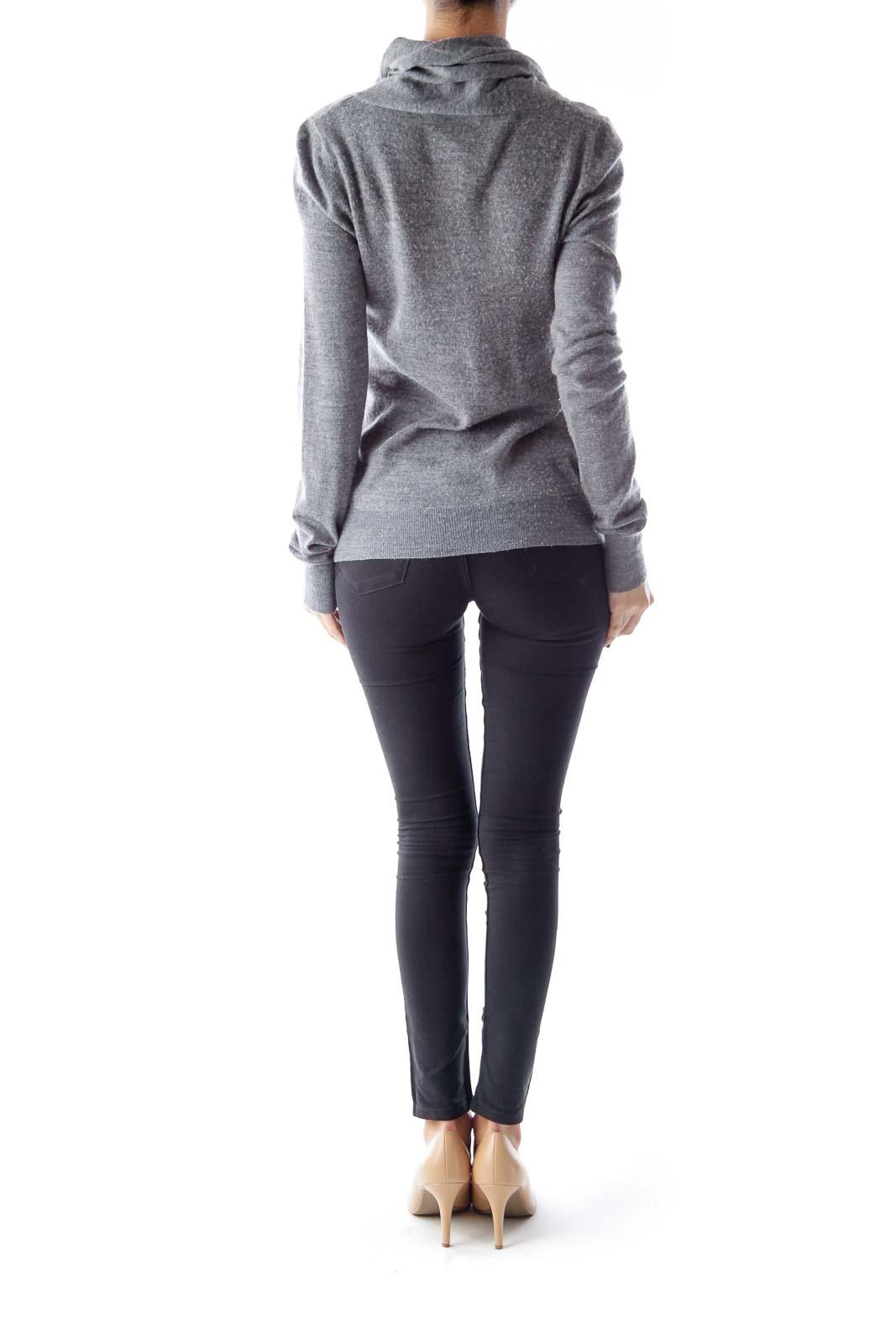 Gray Cowl-Neck Sweater [S] - SilkRoll