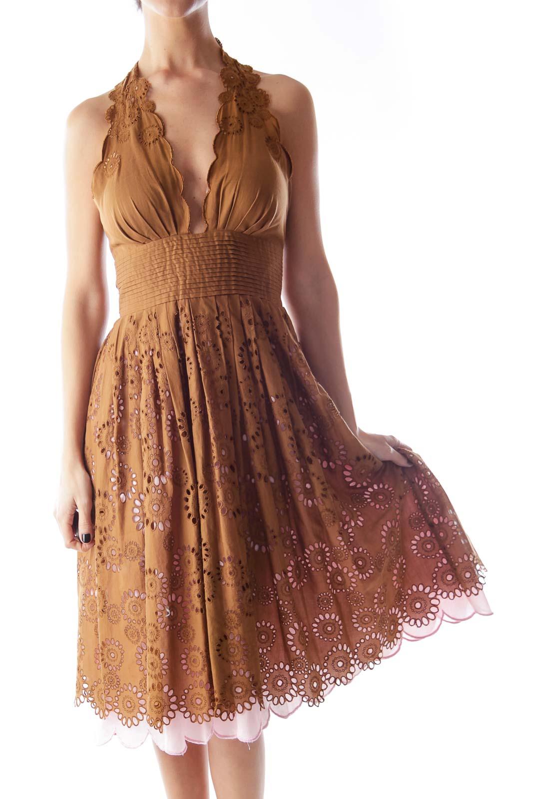 Brown & Pink Eyelet Dress