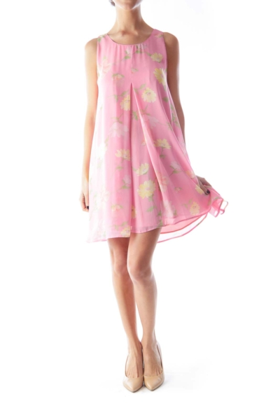 Pink Floral A Line Dress