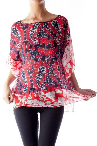 Red Floral Bat Sleeve Shirt