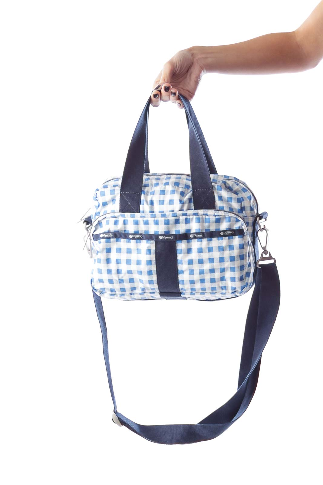 Blue & White Plaid Crossbody Bag