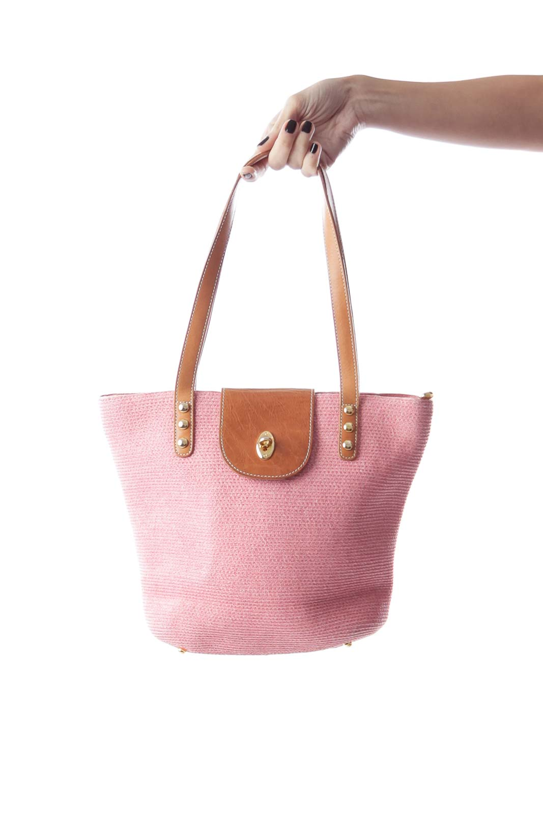 Pink Woven Tote Bag